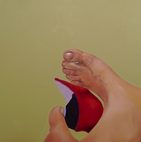 A foot-binding who refuse embroider her shoes -Winnie Chan's Solo Exhibition