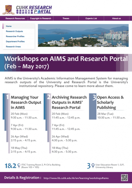 Workshops on AIMS and Research Portal (Feb to May 2017)