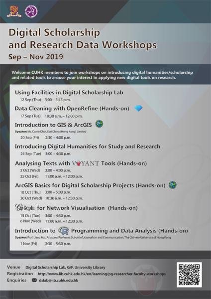 2019.9-11 Digital Scholarship and Research Data Workshops