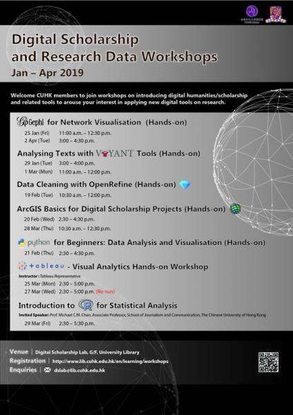 Digital Scholarship and Research Data Workshop (Jan - Apr 2019)