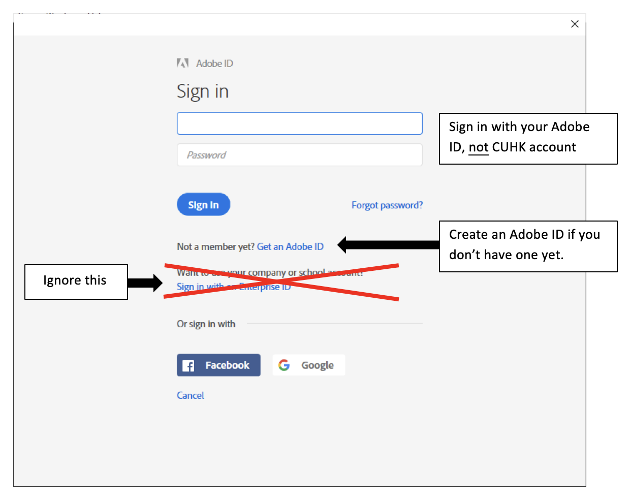 Adobe ID sign in screen