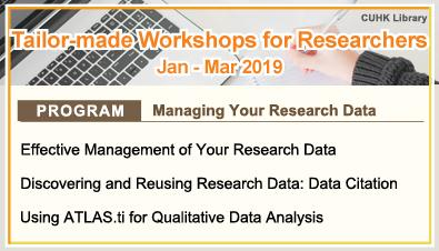 Tailor-made Workshops for Researchers (Jan - Mar 2019)
