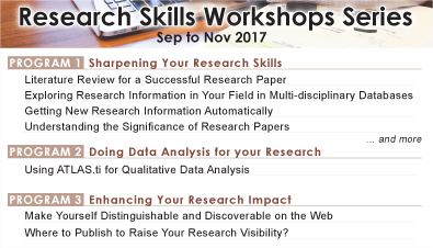 Research Skills Workshops Series (Sep to Nov 2017)