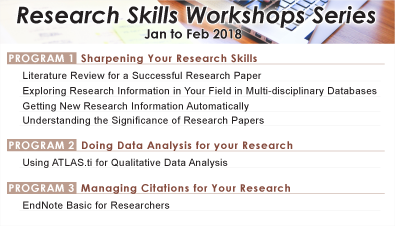 Research Skills Workshops Series (Jan to Feb 2018)