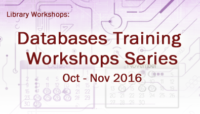 Databases Training Workshops Series (Oct to Nov 2016)